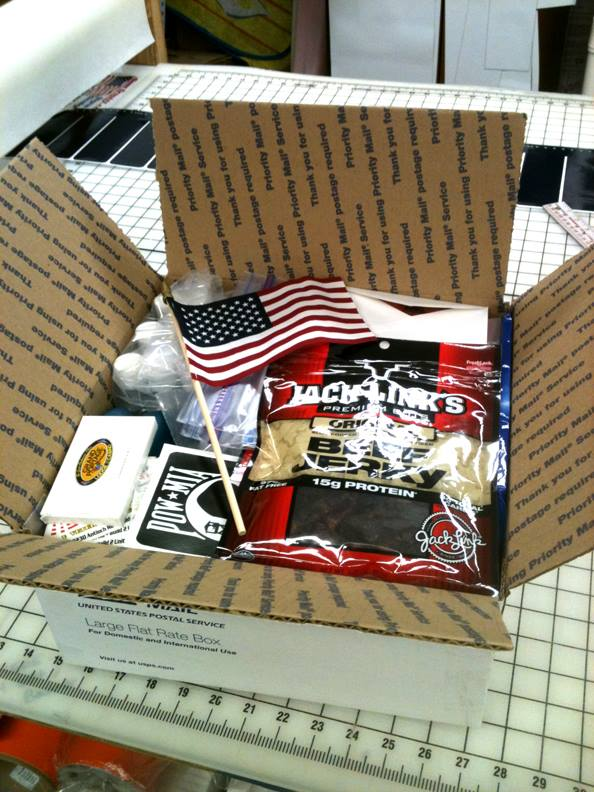 Care package sent to Iraq for a soldier from the ARMY NG 257th BSB Kenosha WI.